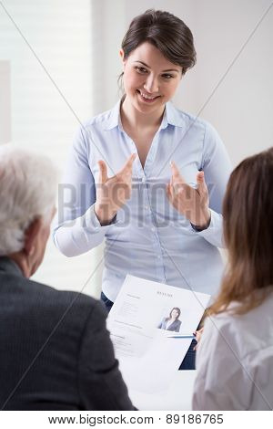 Happy Woman During Self Presentation
