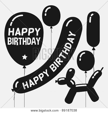 Silhouettes of balloons set, cartoon vector illustration