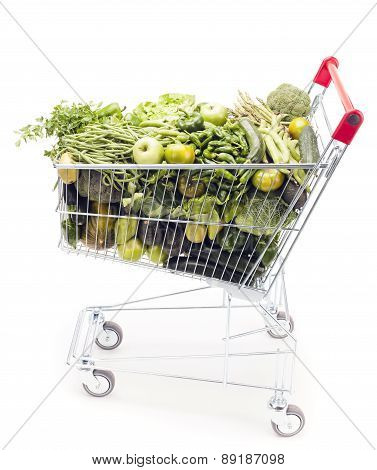 Shopping Cart With Vegetables And Fruits