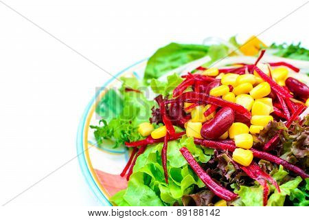 Close Up Of Fresh Salad Isolated