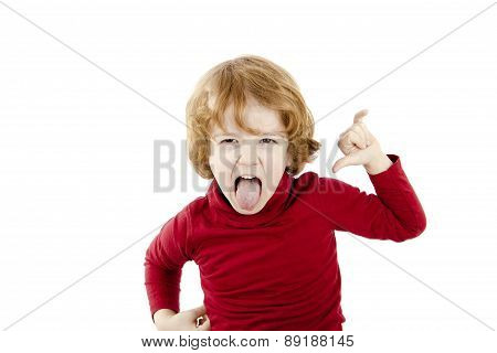 red hair child rock and roll isolated on white background