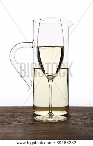 Carafe Of White Wine With Glass
