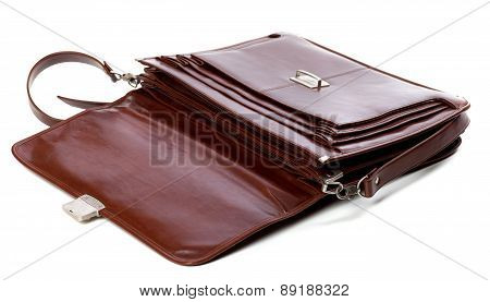 Open Leather Briefcase