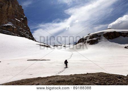 Hiker On Snow Plateau