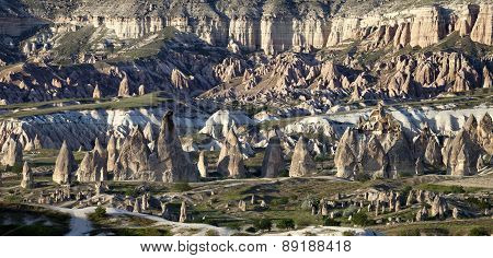 Panoramic View Of Cappadocia Valley At Evening