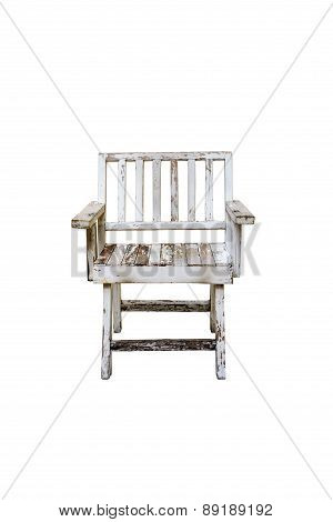 White Old Wooden Chair Isolated