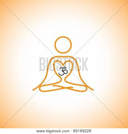Love Of Yoga & Meditation Concept Logo Vector Icon