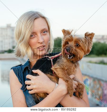Pretty Young Blonde With Small Dog