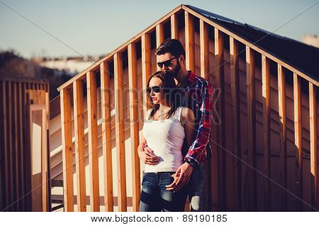Sensual Outdoor Portrait Of Fashion Couple