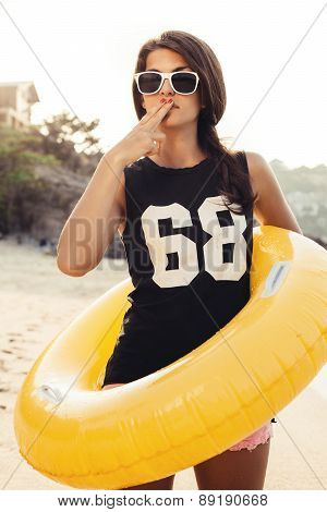 Fashion Portrait Summer Beach Style Of Woman