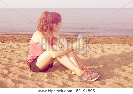 Jogger Woman Taking A Break