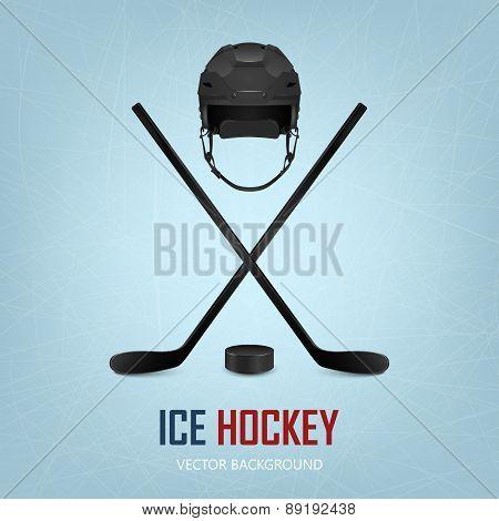 Ice hockey helmet, puck and sticks.