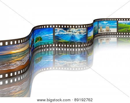 Global tourism travel concept - photo film with travel images with reflection on white background