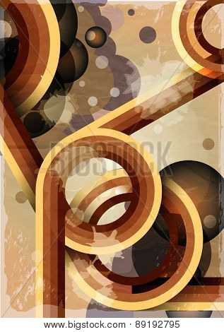 Retro poster template with bubbles, circles, lines and paint splashes. 1960s, 70s style grunge background. EPS10 vector format