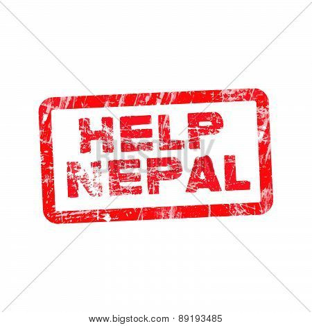 Grunge Red Rubber Stamp With Text Help Nepal, Vector Illustration