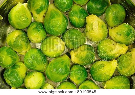 Brussels Sprouts in a Cooking Pot, Detail, horizontal