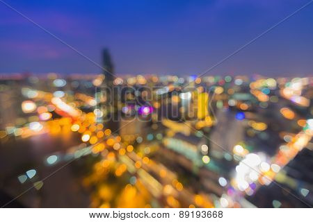 Abstract Blur Bokeh of modern city lights night view