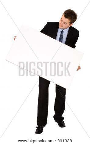 Business Man With White Card