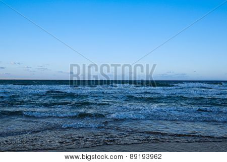Vast Blue Ocean In Evening Light