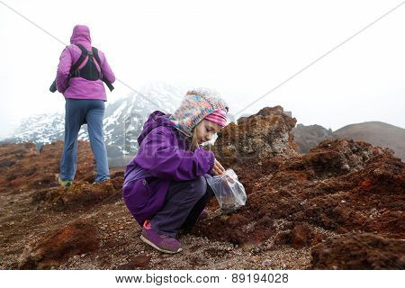 Girl With Mother And Baby Brother On Mount Etna