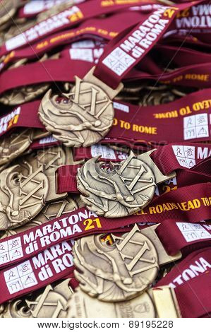 Medals Of The Rome Marathon