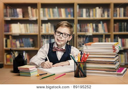 School Kid Studying In Library, Child Writing Paper Copy Book, Shelves