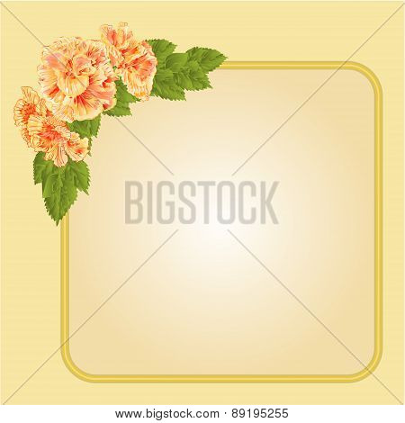 Golden Frame With Yellow Hibiscus Vector