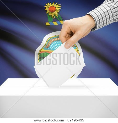 Voting Concept - Ballot Box With National Flag On Background - Kansas