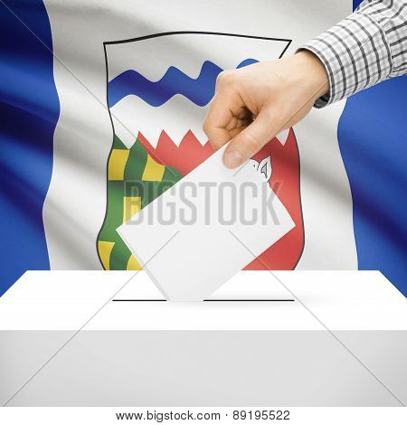 Voting Concept - Ballot Box With National Flag On Background - Northwest Territories