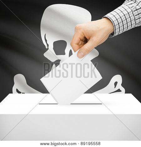 Voting Concept - Ballot Box With National Flag On Background - Jolly Roger Flag