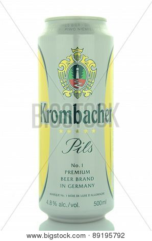 Krombacher pils beer isolated on white background.