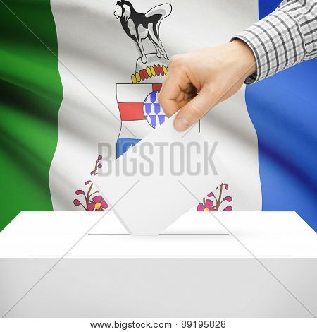 Voting Concept - Ballot Box With National Flag On Background - Yukon