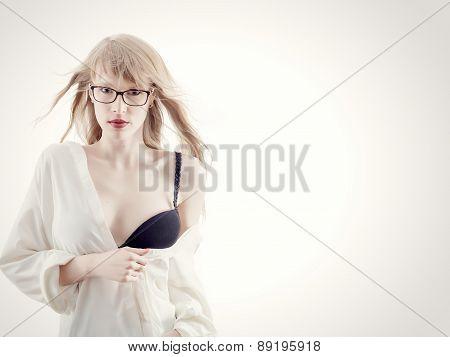 Sensual Girl On White