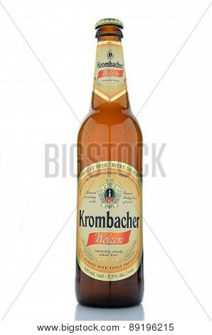 Krombacher wheat beer isolated on white background