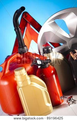 Set of auto parts, car battery on vivid moto concept