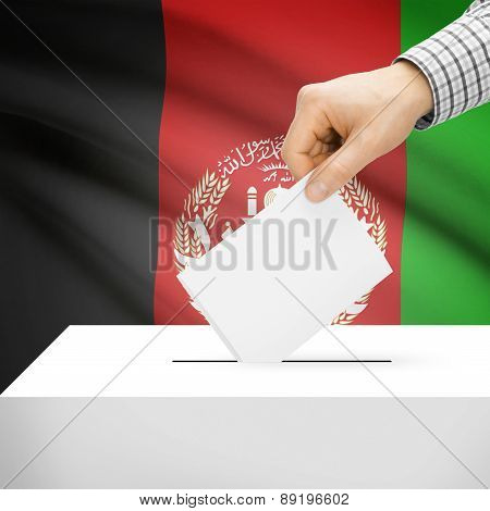 Voting Concept - Ballot Box With National Flag On Background - Afghanistan