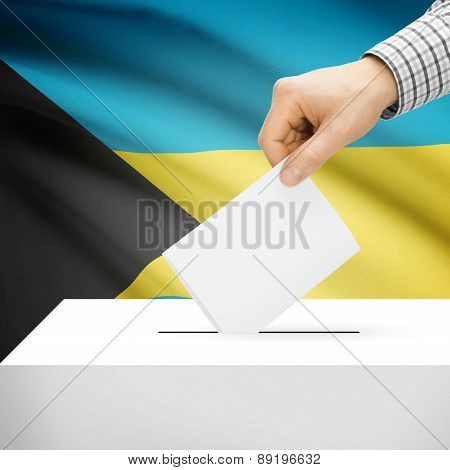 Voting Concept - Ballot Box With National Flag On Background - Bahamas
