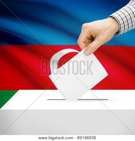 Voting Concept - Ballot Box With National Flag On Background - Azerbaijan