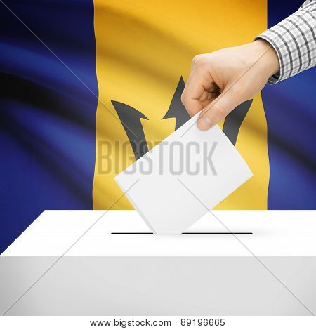 Voting Concept - Ballot Box With National Flag On Background - Barbados