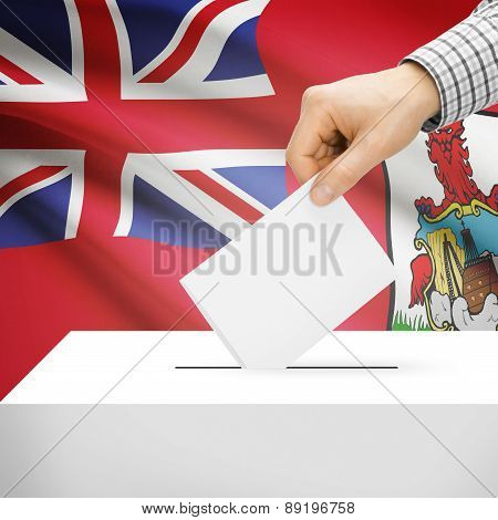 Voting Concept - Ballot Box With National Flag On Background - Bermuda