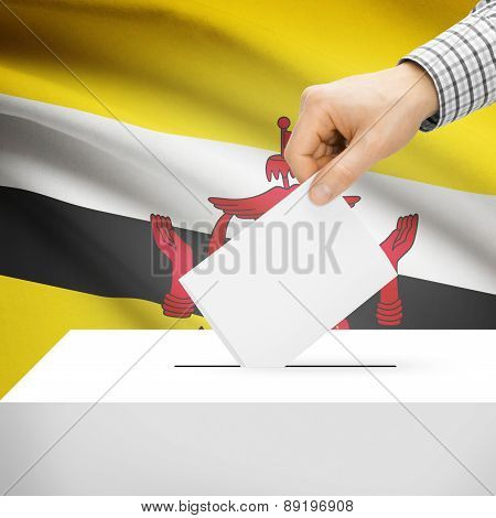 Voting Concept - Ballot Box With National Flag On Background - Brunei