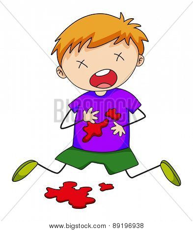 Close up boy being injured with blood splash