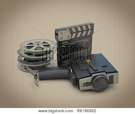 Retro Movie Camera Movie Clapper And Film Reel