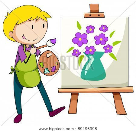 Man drawing and painting flowers