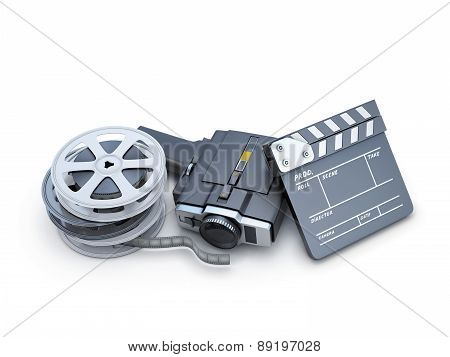 Retro Movie Camera Clapper Board And Film Reel