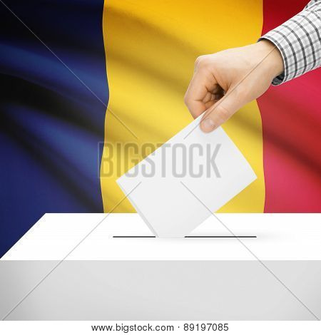 Voting Concept - Ballot Box With National Flag On Background - Chad