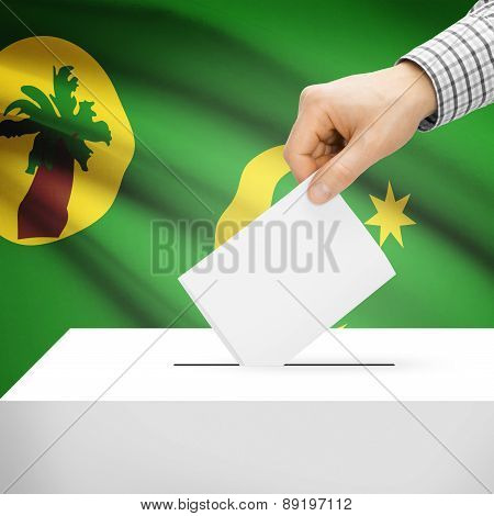 Voting Concept - Ballot Box With National Flag On Background - Territory Of The Cocos (keeling) Isla