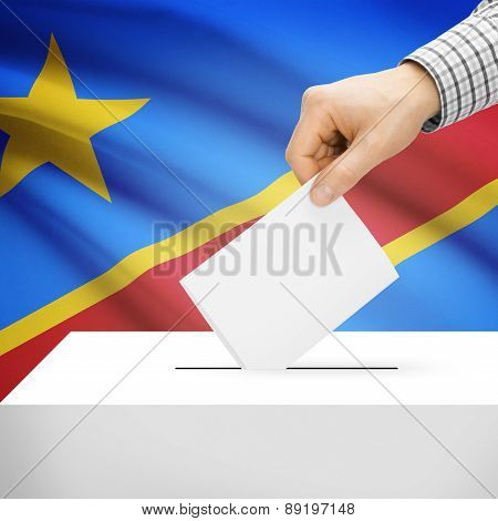 Voting Concept - Ballot Box With National Flag On Background - Democratic Republic Of The Congo
