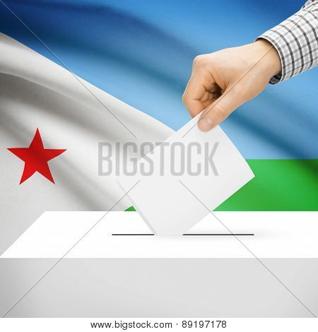 Voting Concept - Ballot Box With National Flag On Background - Djibouti