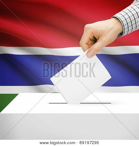 Voting Concept - Ballot Box With National Flag On Background - Gambia